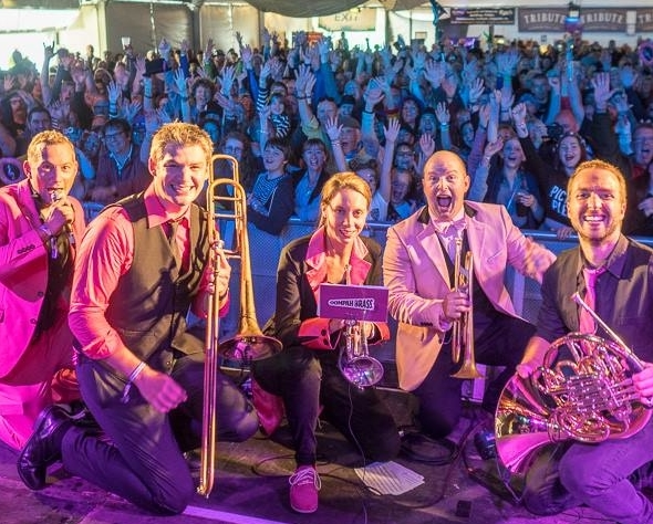 Oompah Brass with crowd at Looe Festival